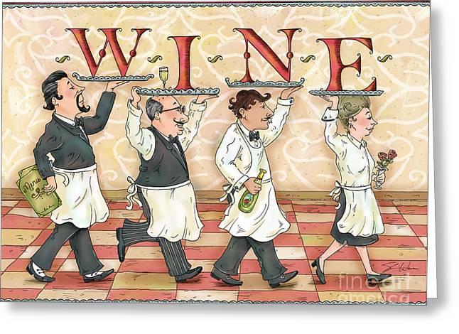 Waiter Greeting Cards - Waiters WINE Greeting Card by Shari Warren