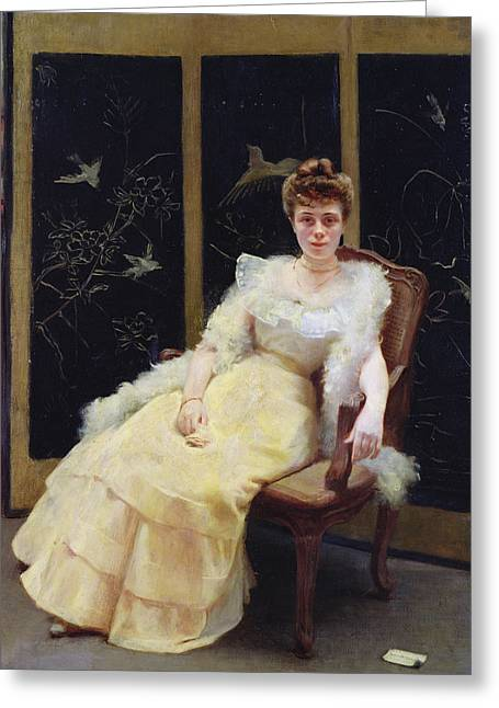 Ball Gown Greeting Cards - Waiting, 1901 Oil On Canvas Greeting Card by Ernst Philippe Zacharie