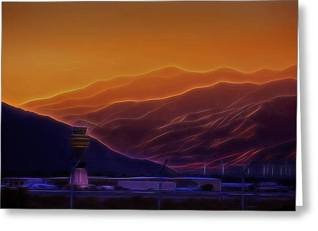 Palm Springs Airport Greeting Cards - Palm Springs Sunset Greeting Card by Jay Hooker