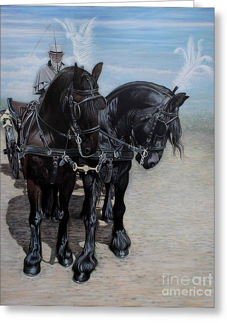 Pair Driving Greeting Cards - Waiting Again Boys Greeting Card by Caroline Collinson