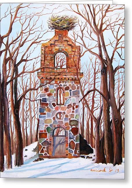 Brnch Greeting Cards - Waiting at Church Ruins  Greeting Card by Misuk  Jenkins