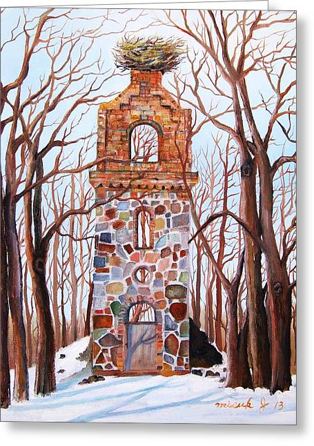 Brnch Greeting Cards - Waiting at Church Ruins  Greeting Card by Misuk  Jenkins