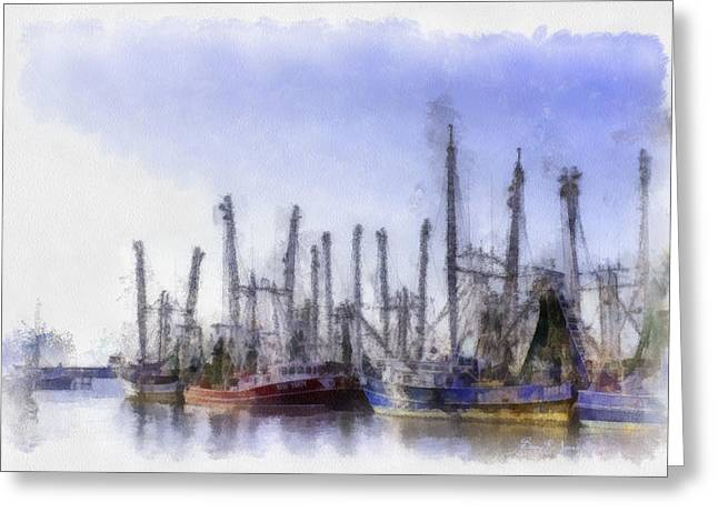 Shrimp Boat Captains Greeting Cards - Waiting at Dock Greeting Card by Barry Jones