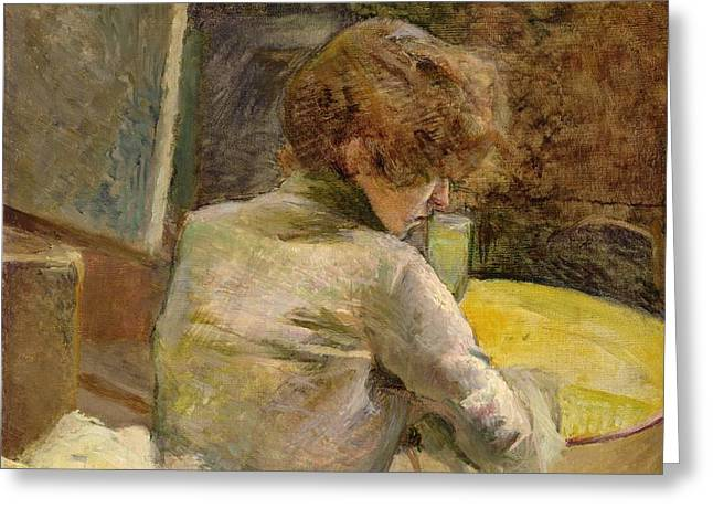 Waiting at Grenelle Greeting Card by Henri de Toulouse-Lautrec
