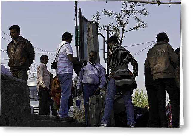 Tourist Greeting Cards - Waiting at the top of the steps next to the Dal Lake in Srinagar Greeting Card by Ashish Agarwal