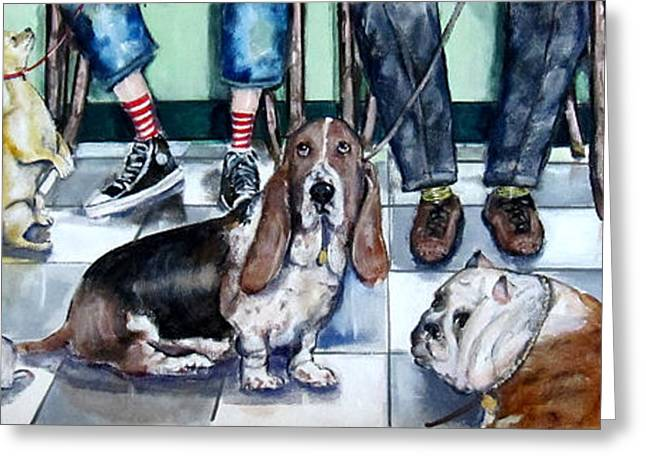 Puppies Paintings Greeting Cards - Waiting at the Vets Office Greeting Card by Chris Dreher