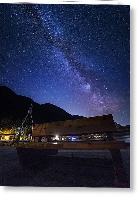 Porteau Cove Provincial Park Greeting Cards - Waiting Bench Greeting Card by Bun Lee
