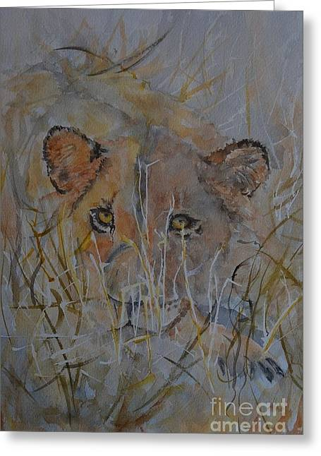 Lioness Greeting Cards - Waiting Greeting Card by Betty Mulligan