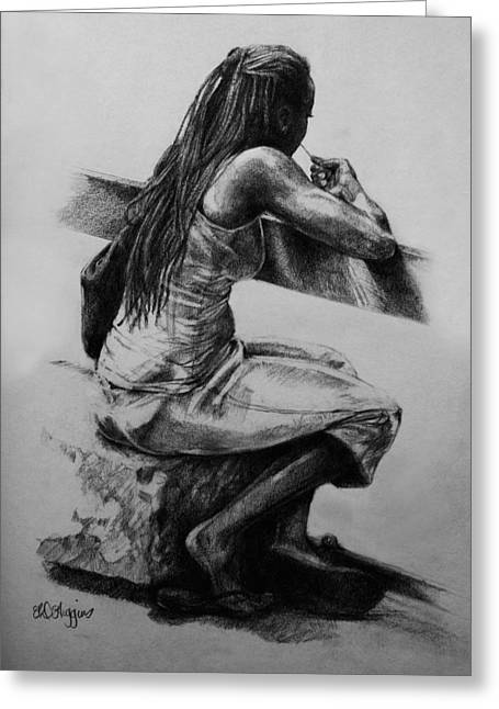 Pensive Drawings Greeting Cards - Waiting by the water Greeting Card by Derrick Higgins