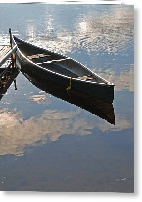 Boats At The Dock Greeting Cards - Waiting Canoe Greeting Card by Renee Forth-Fukumoto