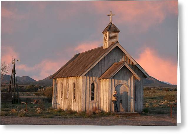 Southwest Church Greeting Cards - Waiting.. Greeting Card by Carolyn Dalessandro