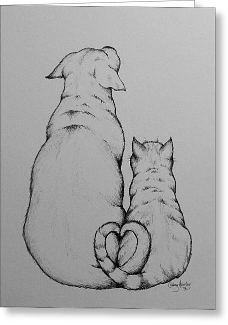 Recently Sold -  - White Drawings Greeting Cards - Waiting Greeting Card by Catherine Howley