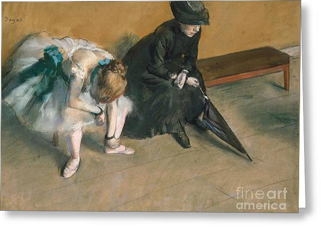 France 1874-1886 Greeting Cards - Waiting  Greeting Card by Edgar Degas