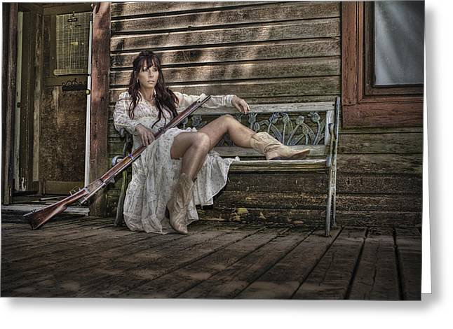 Country Cowgirl Greeting Cards - Waiting Greeting Card by Naman Imagery