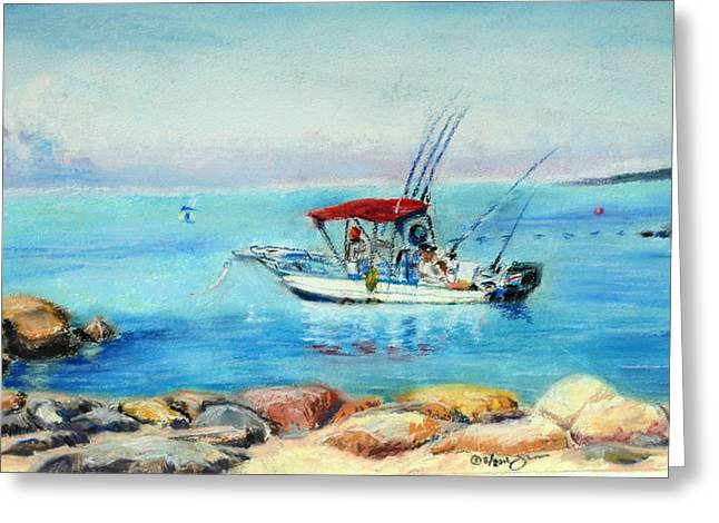 Fishing Rods Pastels Greeting Cards - Waiting for a fish Greeting Card by J Val