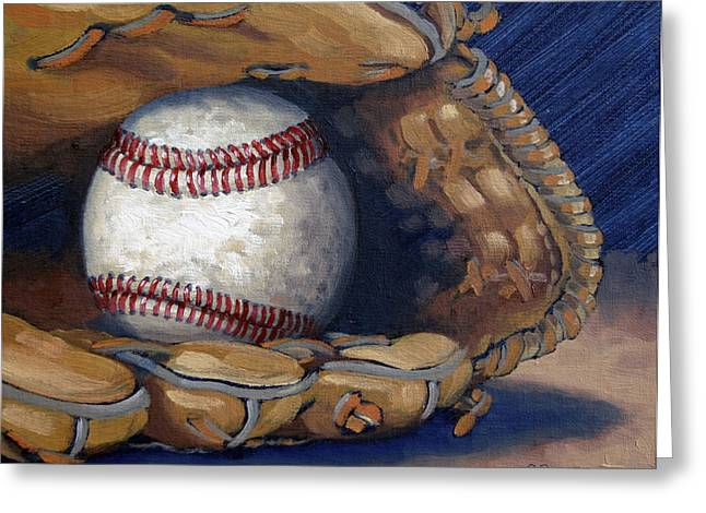 Baseball Glove Paintings Greeting Cards - Waiting for a Game Greeting Card by Robin Roberts