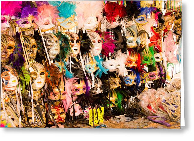 New Orleans Collection Greeting Cards - New Orleans Wall Of Masks Greeting Card by JG Thompson