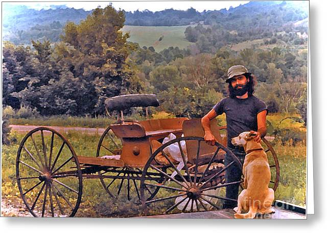 Horse-drawn Vehicle Digital Greeting Cards - Waiting For a Lift on the Old Buckboard Greeting Card by Patricia Keller