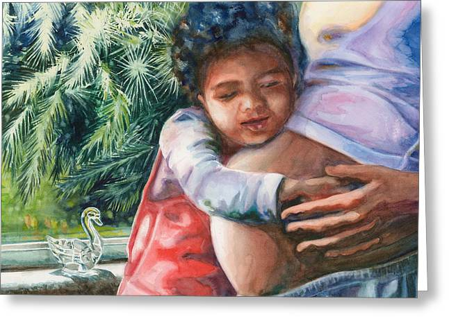 Biracial Art Greeting Cards - Waiting for Baby Greeting Card by Maureen Dean