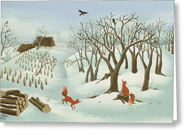 Winter Crows Greeting Cards - Waiting For Better Times, 1980, Oil On Wood Greeting Card by Magdolna Ban