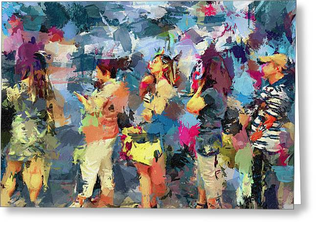 Live Art Greeting Cards - Waiting for Bus in Hong Kong City Greeting Card by Yury Malkov