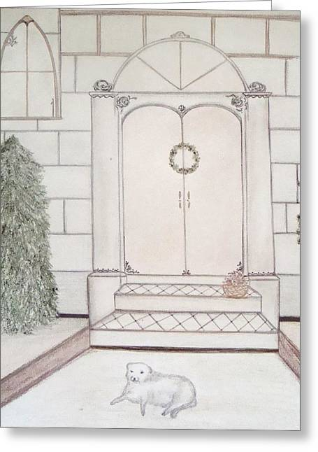 Facades Pastels Greeting Cards - Waiting for Christmas Greeting Card by Christine Corretti