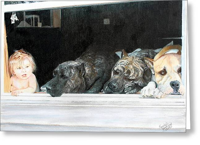Recently Sold -  - At Work Greeting Cards - Waiting for Daddy Greeting Card by Charlotte Hastings