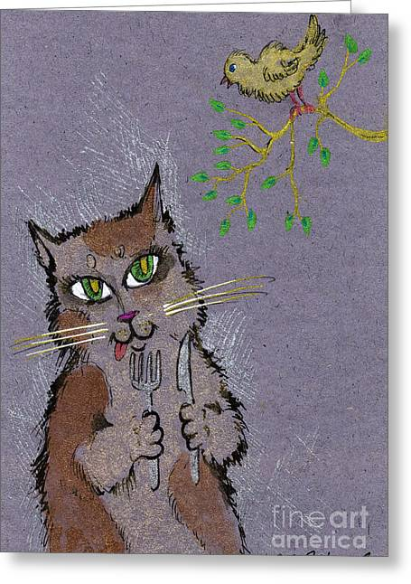 Cat Drawings Greeting Cards - Waiting For Dinner Greeting Card by Angel  Tarantella
