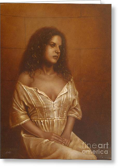 Sepia Chalk Greeting Cards - Waiting for her lover Greeting Card by John Silver