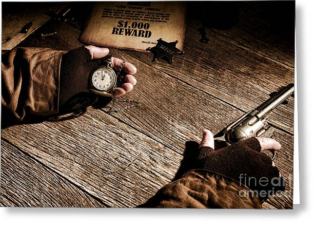 Fugitive Greeting Cards - Waiting for High Noon Greeting Card by Olivier Le Queinec