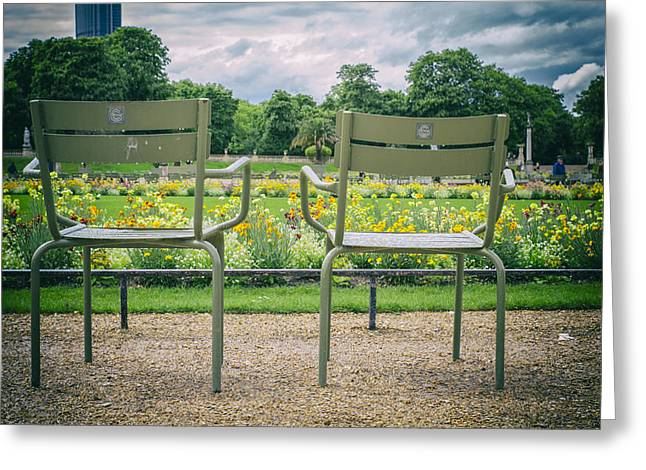 Empty Chairs Greeting Cards - Waiting for Lovers Greeting Card by Nomad Art And  Design