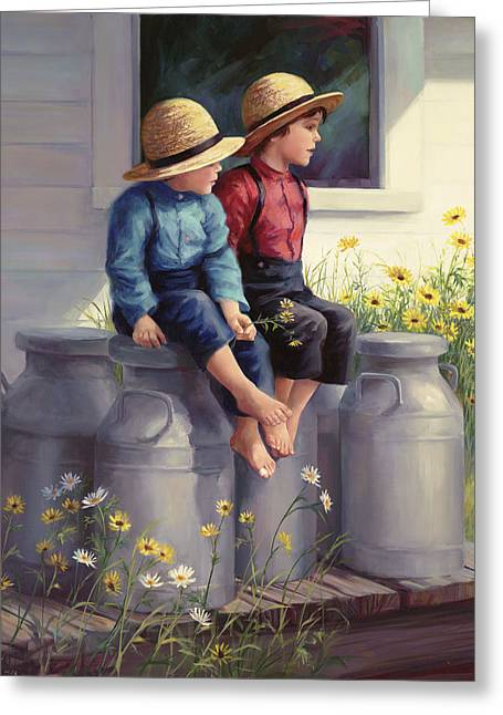 Straw Hat Greeting Cards - Waiting for Mama Greeting Card by Laurie Hein