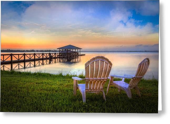 Adirondack Chairs On The Beach Greeting Cards - Waiting For Otis Greeting Card by Debra and Dave Vanderlaan