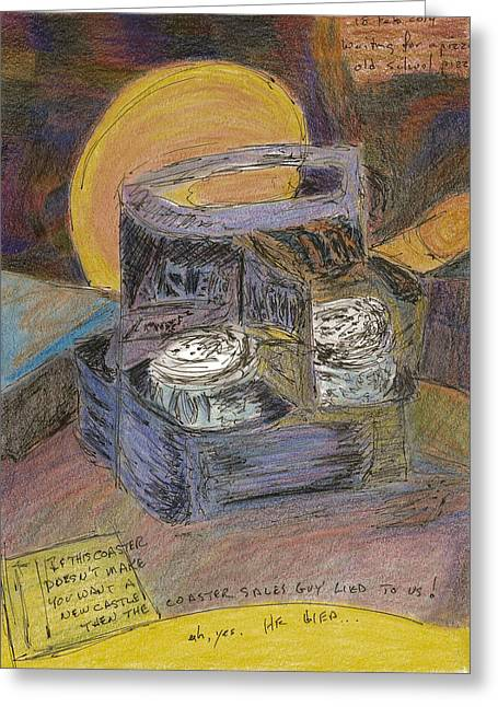 Beer Pastels Greeting Cards - Waiting for Pizza Greeting Card by William Killen
