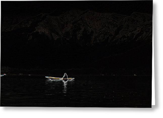 Dal Lake Greeting Cards - Waiting For Someone Greeting Card by Vijinder Singh