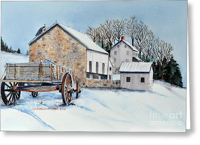 Stone Barn Greeting Cards - Waiting For Spring Greeting Card by John W Walker