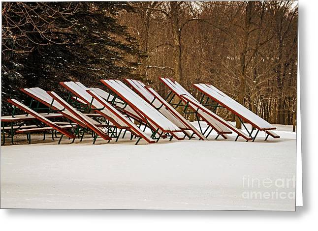 Waiting For Summer - Picnic Tables Greeting Card by Mary Machare