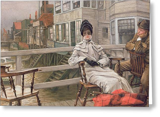 Victorian Lady Greeting Cards - Waiting For The Ferry, C.1878 Panel Greeting Card by James Jacques Joseph Tissot