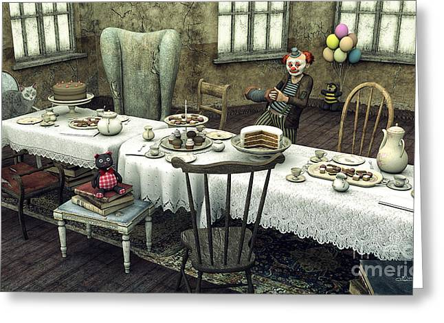 Tea Party Greeting Cards - Waiting for the Guests Greeting Card by Jutta Maria Pusl