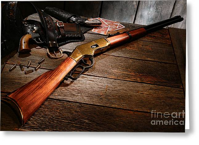 Image Repeat Greeting Cards - Waiting for the Gunfight Greeting Card by Olivier Le Queinec