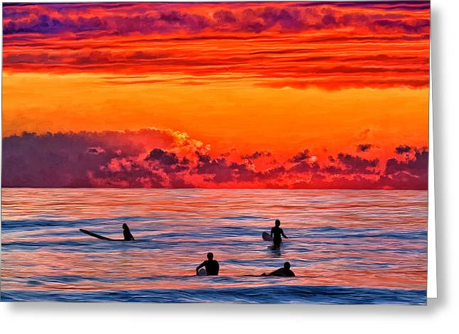 Surf Silhouette Paintings Greeting Cards - Waiting for the Next Set Greeting Card by Michael Pickett