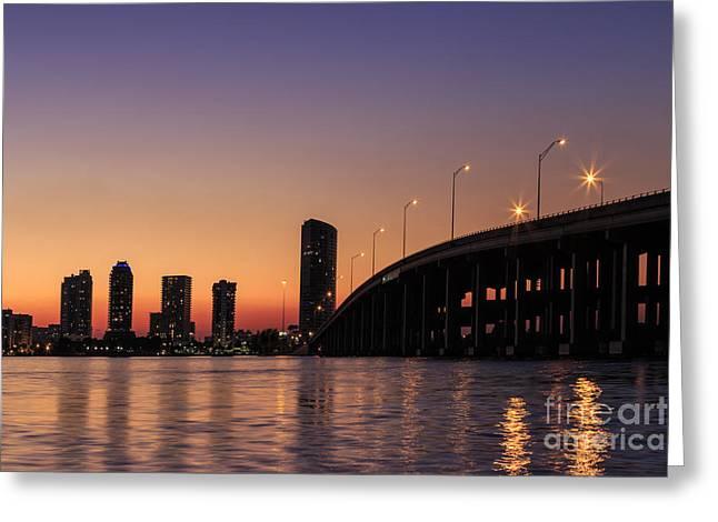 Florida Bridge Greeting Cards - Waiting For The Night Greeting Card by Evelina Kremsdorf