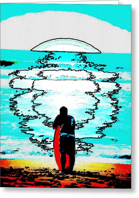 Santa Cruz Surfing Greeting Cards - Waiting for The One Greeting Card by Lisa McKinney