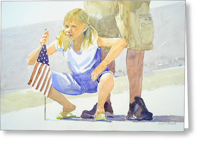 4th Of July Parade Greeting Cards - Waiting for the Parade Greeting Card by Janet Campbell