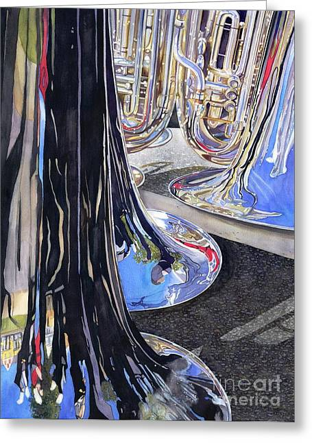 Best Sellers -  - Marching Band Greeting Cards - Waiting for the Parade Greeting Card by Lorraine Watry