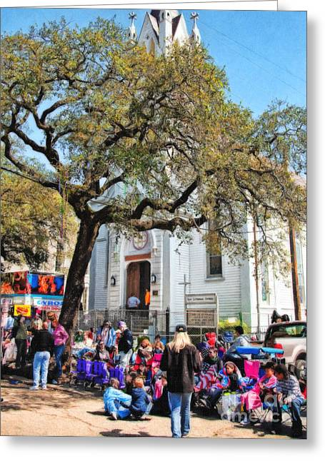 St Charles Avenue Greeting Cards - Waiting for the Parade on St. Charles Ave Greeting Card by Kathleen K Parker