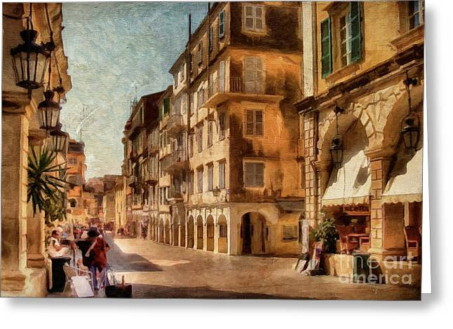 Summer Awnings Greeting Cards - Waiting For The Tourists Painterly Greeting Card by Lois Bryan