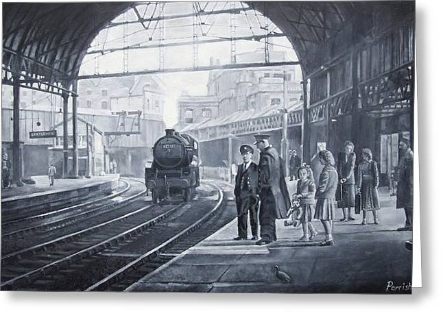 Stations Greeting Cards - Waiting For The Train, 2008 Oils Greeting Card by Kevin Parrish