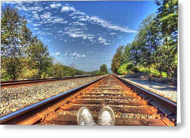 Fineartamerica Greeting Cards - Waiting for the Train Greeting Card by Bryan Hanson
