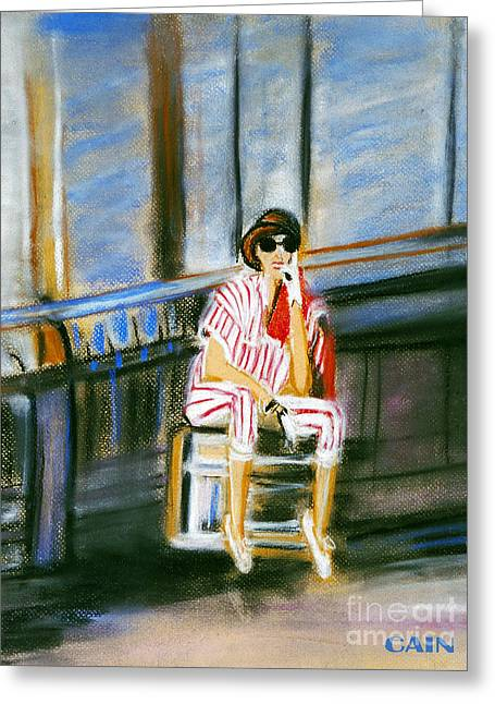 Striped Blouse Greeting Cards - Waiting For The Train Greeting Card by William Cain